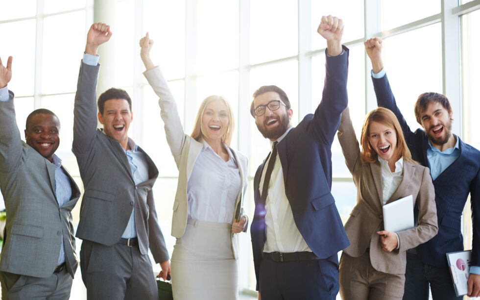 empresários, negócio, comemoração, sucesso