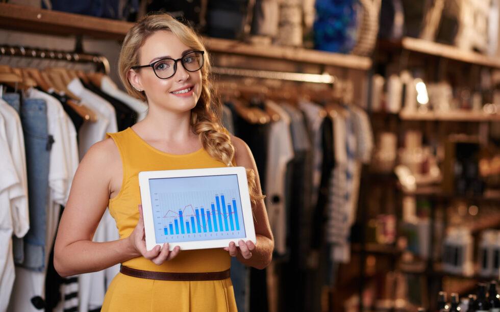vendedora, roupas, loja, crescimento